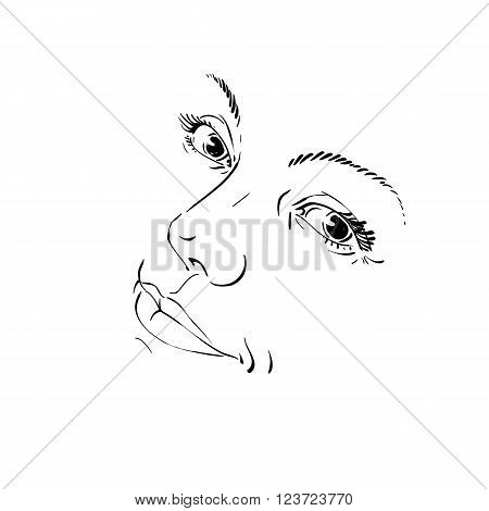 Monochrome Hand-drawn Silhouette Of Woman Face, Delicate Features. Face Expression On Lady Face, Vec