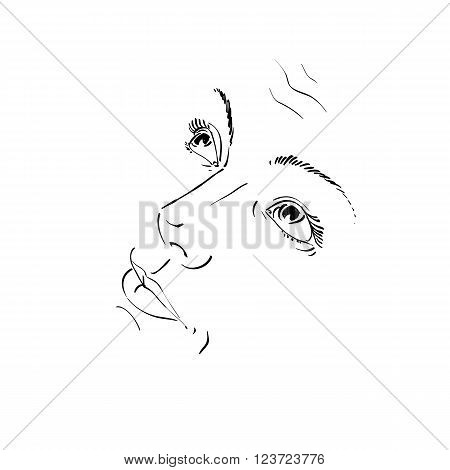 Hand-drawn Illustration Of Woman Face, Black And White Mask With Emotions. Features Of Beautiful Gir