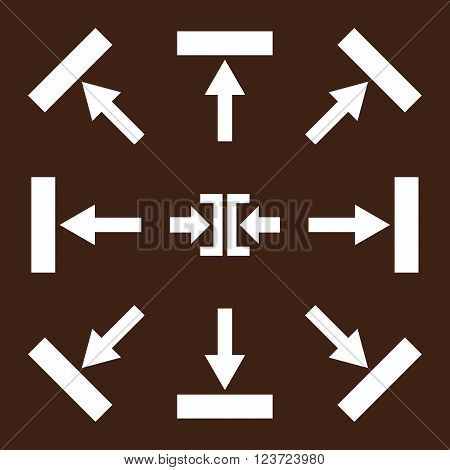 Push Directions vector icon set. Collection style is white flat symbols on a brown background. Push Directions icons.