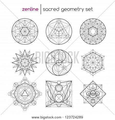 Abstract vector sacred geometrical figures, spiritual geometry symbols