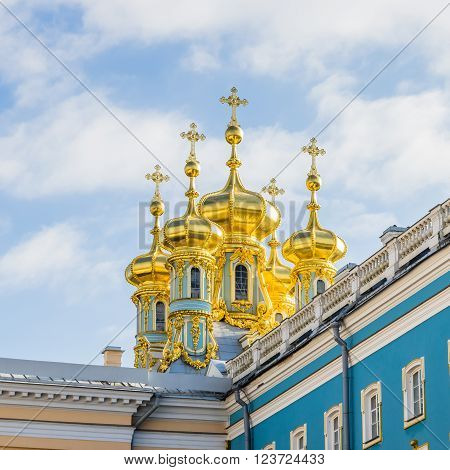 Closeup view on domes and crosses of Catharine Palace in Tsarskoye Selo (Pushkin) Russia