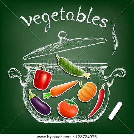 Vegetables cooked in a pan. Kitchen equipment is drawn chalk on a blackboard. Diet and healthy nutrition. Stock vector illustration.