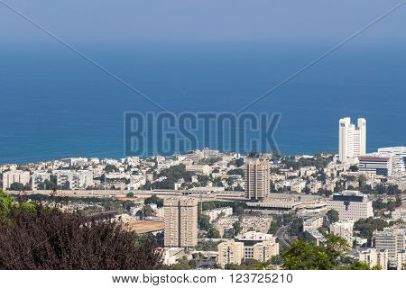 Seaview from mountain. Cityscape. Haifa in summer ** Note: Soft Focus at 100%, best at smaller sizes