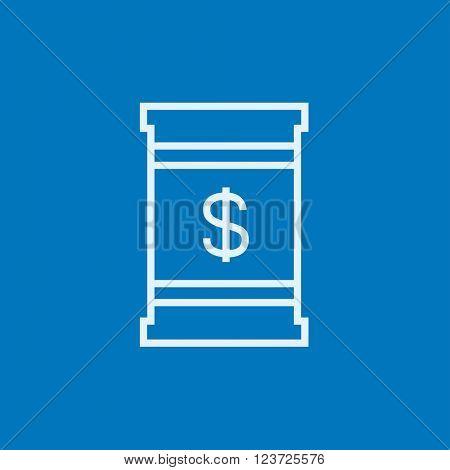 Barrel with dollar symbol line icon.