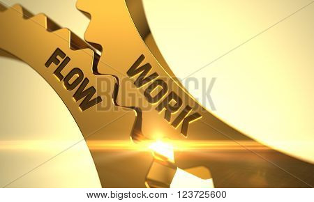 Work Flow on Mechanism of Golden Cogwheels with Lens Flare. Work Flow - Illustration with Glow Effect and Lens Flare. Work Flow - Technical Design. Work Flow - Concept. 3D Render.