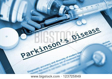 Parkinson's Disease, Medical Concept with Pills, Injections and Syringe. Diagnosis - Parkinson's Disease On Background of Medicaments Composition - Pills, Injections and Syringe. Toned Image. 3D.