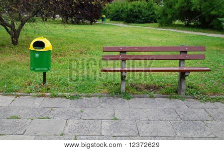 trashcan and bench
