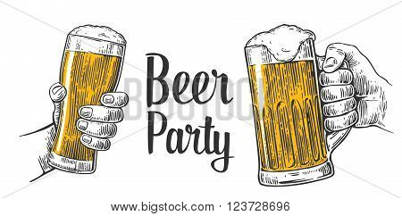 Two hands holding beer glasses mug. Hand drawn design element. Vintage vector engraving illustration for web poster invitation to beer party. Isolated on white background
