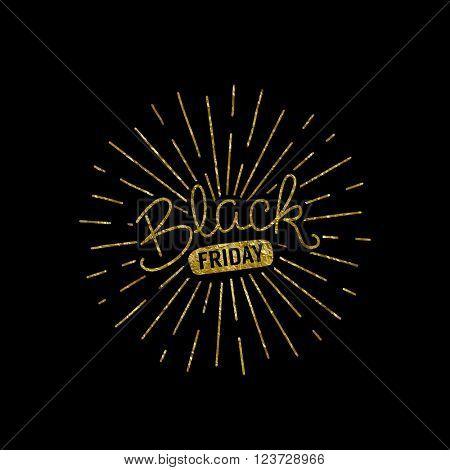 Black friday gold foil illustration