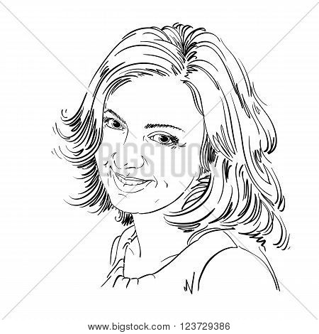 Vector Drawing Of Smiling Sincere Woman With Stylish Haircut. Black And White Portrait Of Attractive