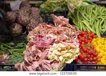 Market stands with various colorful fresh vegetables