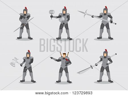 Set of six vector illustration of cartoon medieval knight warrior wearing armor and armed different weapons isolated on plain background.