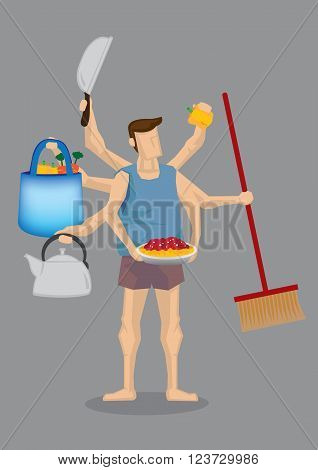 Vector illustration of cartoon man in home clothes with many hands holding different household items isolated on grey background.