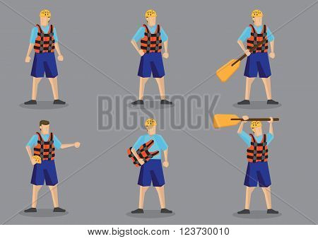 Set of vector illustration of cartoon character wearing life jacket and water helmet for water sports isolated on grey background.