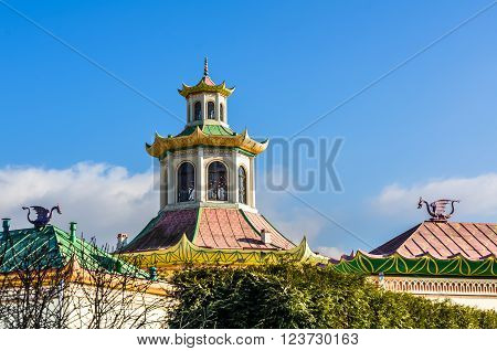 Closeup day view on Chinise Village in Alexander Park in Tsarskoye Selo (Pushkin) Russia