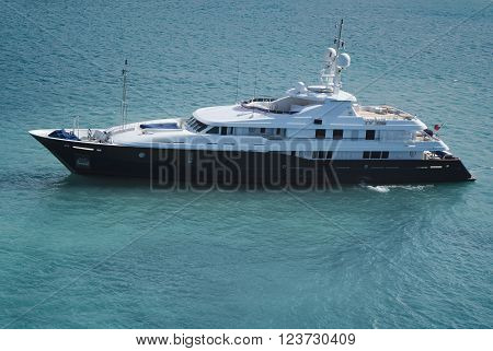 Huge luxury yacht in the waters of St. Thomas, US Virgin Islands