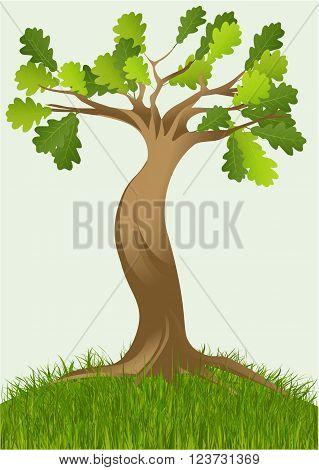 Vector illustration of big cartoon vector tree