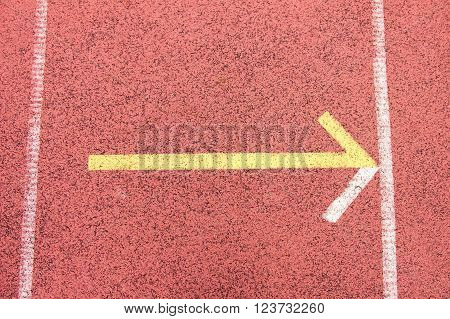 White Lines And Texture Of Running Racetrack, Red Rubber Racetracks In Small Stadium