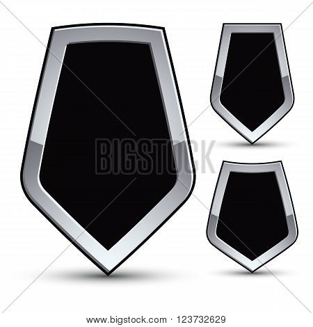 Set Of Heraldic Vector Black Emblem With Silver Outline, Three 3D Conceptual Defense Geometric Badge