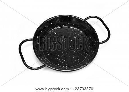 high-angle shot of an empty spanish paella pan on a white background