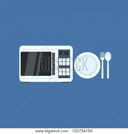 Microwave Oven And Plate Primitive Graphic Style Flat Vector Icon On Blue Background