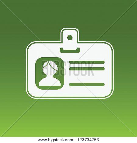 Identification card, employee badge. Vector flat icon.