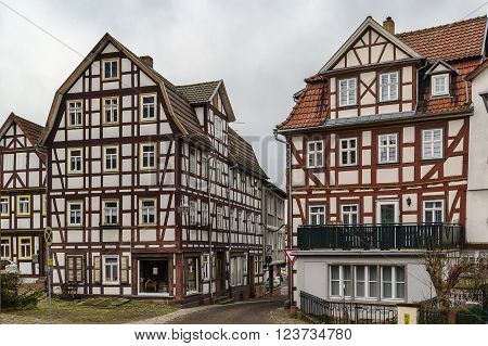 street in Schlitz with half-timbered houses Germany