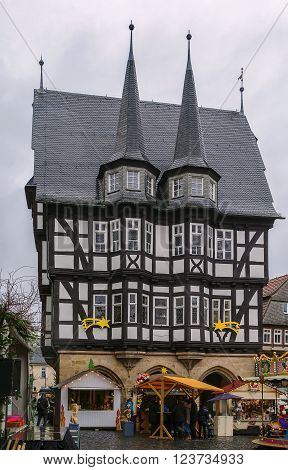 Alsfeld town hall on main square in christmastime Germany