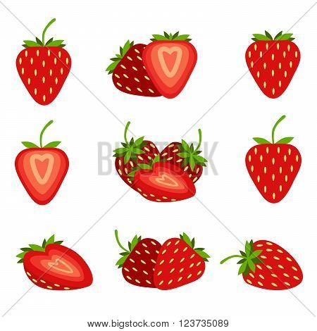 Red strawberry with leaves. Collection of different fresh red strawberry.
