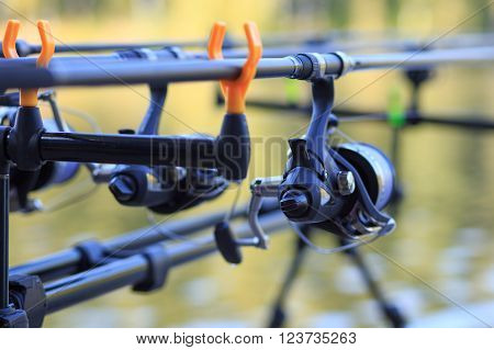 Carp Fishing Rods With Reel Set Up On Holder