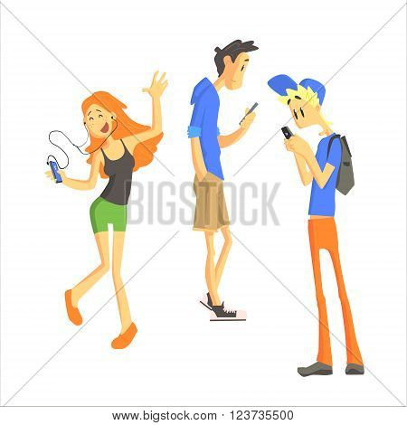 Three Young People Using Gadgets Independent Isolated Flat Vector Drawing On White Background in Cartoon Style