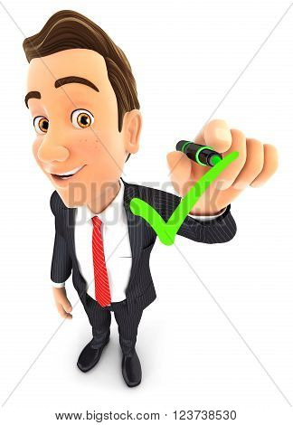 3d businessman drawing positive check mark isolated white background