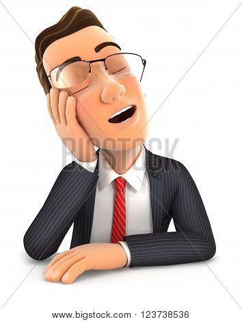 3d businessman fell asleep leaning on his hand isolated white background
