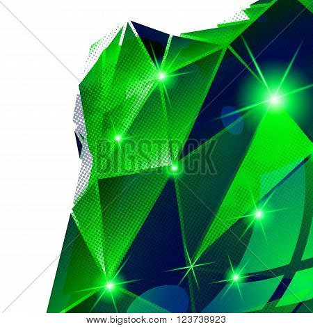 Textured background with plastic deformed flash model dimensional backdrop with pixilated figure created from geometric elements.