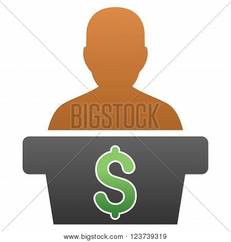 Politician Business vector toolbar icon for software design. Style is a gradient icon symbol on a white background.