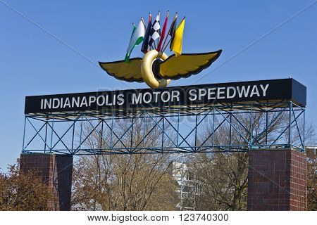 Indianapolis - Circa March 2016: Indianapolis Motor Speedway. IMS Prepares for the 100th Running of the Indy 500 IV