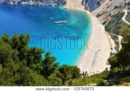 Famous Myrtos beach in Cephalonia island. Greece.