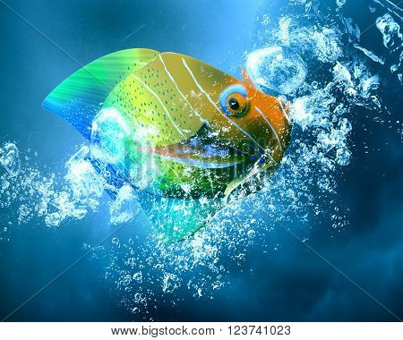 Exotic fish in water