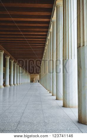 Athens, Greece - January 07,2015. The long hall at the entrance of the Museum   Ancient Agora, Athens, Greece.