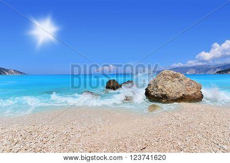 Landscape of Fteri beach Kefalonia island in Greece