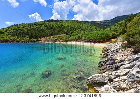 Famous Horgota beach on Kefalonia island in Greece.