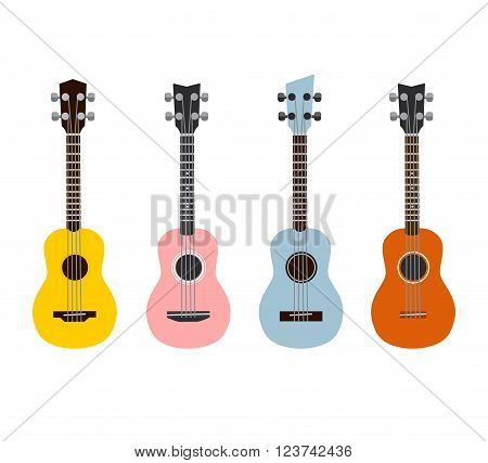 Colorful Ukuleles isolated on white. Set of 4.