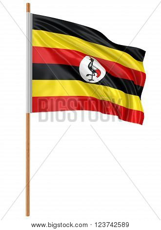 3D flag of Uganda with fabric surface texture. White background.