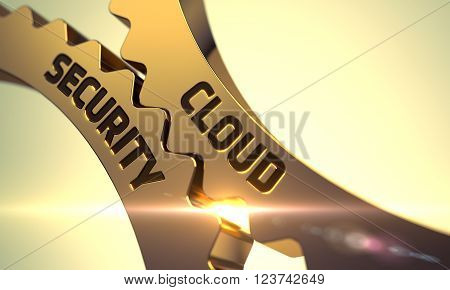 Cloud Security on Mechanism of Golden Metallic Cogwheels with Glow Effect. Cloud Security - Concept. Cloud Security - Illustration with Glowing Light Effect. 3D.