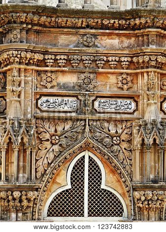 This photo is showing very small part of Mahabat Tomb placed in Junagadh city, Gujarat. Very fine craftmanship is very beautiful. Art style of this historic building is combination of Muslim and European art.