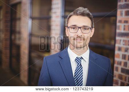 Portrait of confident businessman wearing eyeglasses standing in office