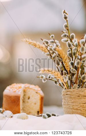 Vase with pussy-willows and wheat ear, sliced Easter cake, selective focus, copy space