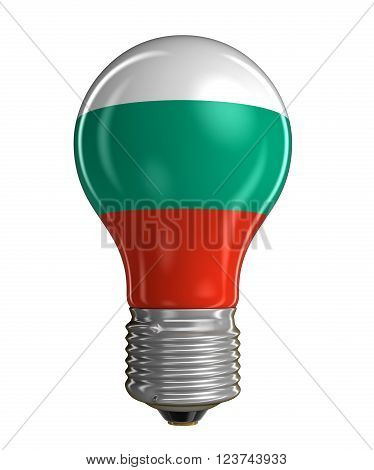 Light bulb with Bulgarian flag.  Image with clipping path