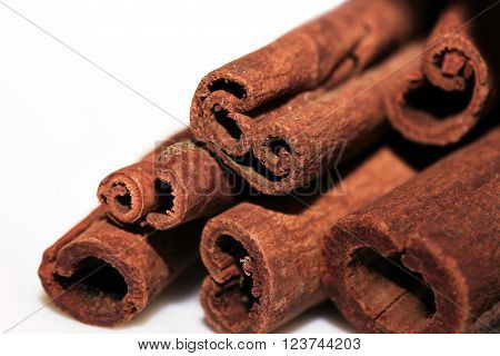 Cinnamon isolated on white background close up