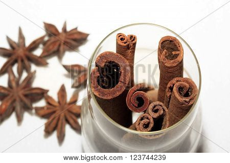 anice and cinnamon isolated on white background